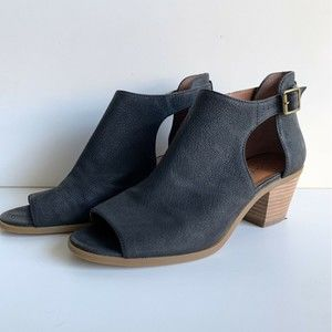 Lucky Brand Barimo BootieLeather Stacked Wood Heel